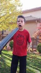 The time he got to play with gramma's leaf blower...