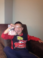 """""""CRAZY MOMENTS..."""" The time he was worried about getting hungry at night, so he packed a bag of ham for bedtime."""