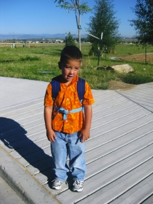First day of preschool. He was thrilled.