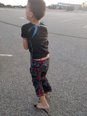 The time he taped himself up and tried to run through the school parking lot in his pajamas...